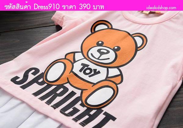ชุดเดรสคุณหนูลายพี่หมี SPIRIGHT สีชมพูขาว