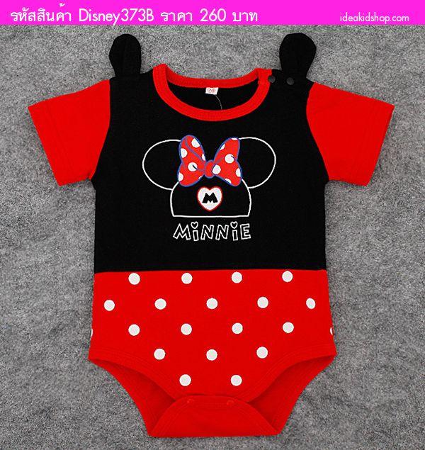ชุดบอดี้สูทหนูน้อย Minnie Mouse ลายจุด สีดำแดง