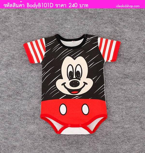 บอดี้สูทหนูน้อย Mickey Mouse สีดำแดง