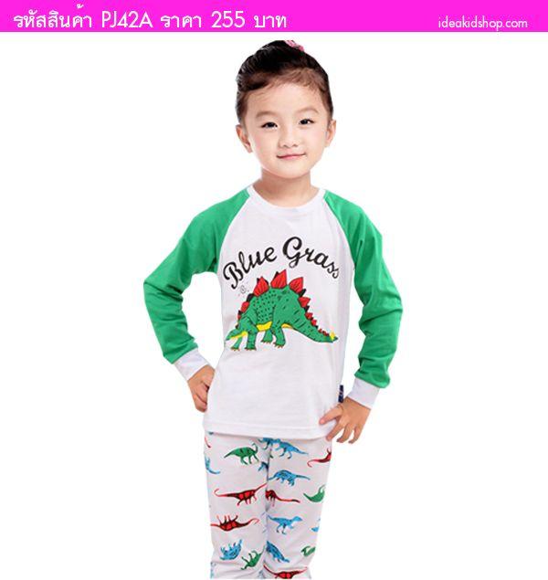 ชุดเสื้อกางเกงเด็ก ไดโนเสาร์ Stegosaurus สีเขียว