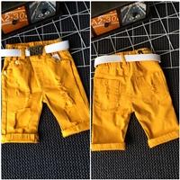 กางเกงยีนส์สีสดพร้อมเข็มขัด-Nananjii-1987-สีเหลือง