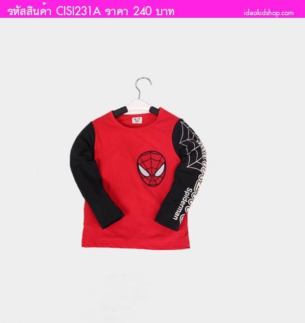 เสื้อยืดแขนยาว CISI Spider Man สีแดง