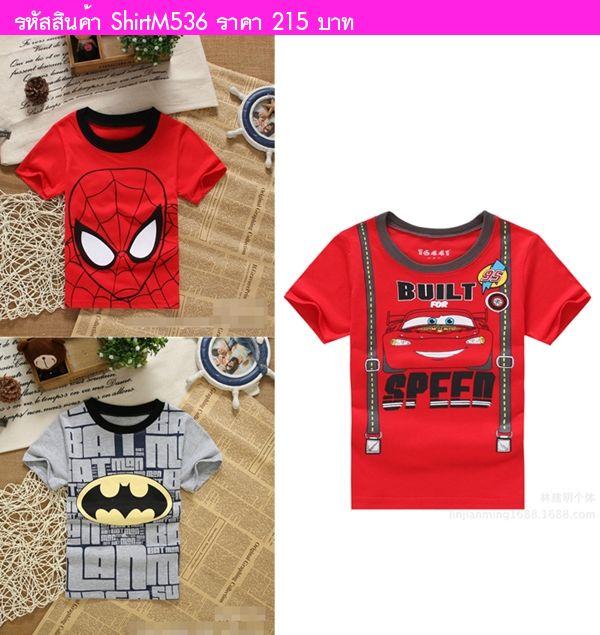 เสื้อยืดเด็ก Spiderman หน้าใหญ่ สีแดง