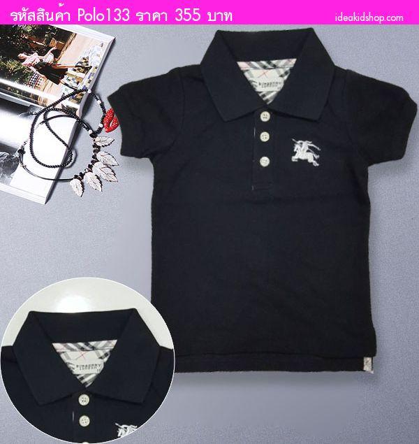 เสื้อยืดคอปก Burberry สีดำ