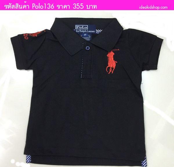 เสื้อยืดคอปก Polo Ralph Lauren เลข 3 โลโก้แดง สีดำ
