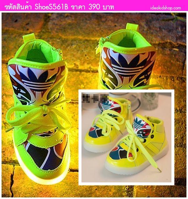 รองเท้าผ้าใบสไตล์ญี่ปุ่น สีเหลืองเลม่อน(มีไฟ)