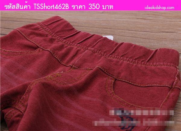 กางเกงขาสั้นเด็ก กวางน้อย สีแดง