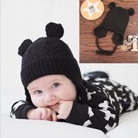 หมวกไหมพรมเชือกผูกแบบเปียแต่งหูหนูน้อย-สีดำ