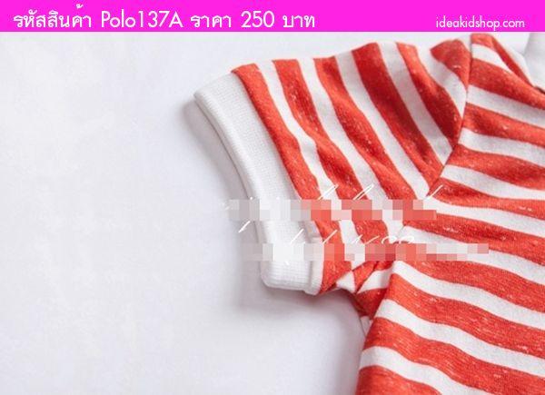 เสื้อยืดคอปกแต่งสไตล์เซอ ลายทาง สีแดงส้ม