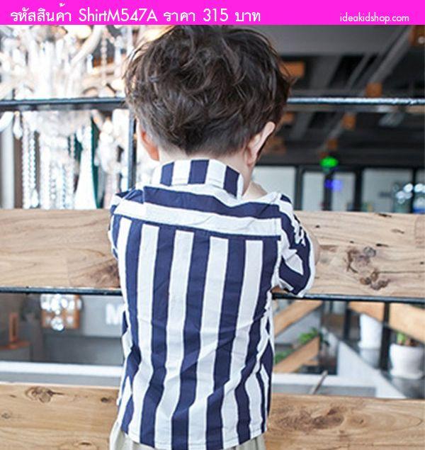 เสื้อเชิ้ตแขนสั้นสไตล์เกาหลี ลายทาง สีกรมขาว