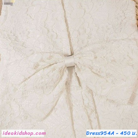 ชุดเดรสคุณหนูแสนสวย ลายลูกไม้สุดหรู สีขาว