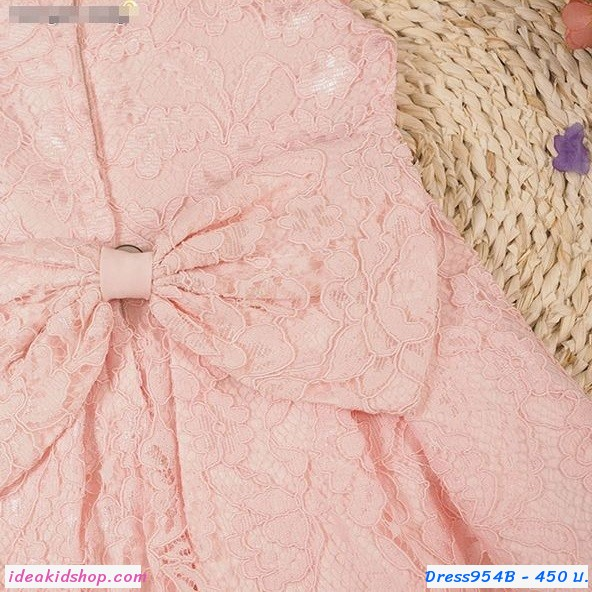 ชุดเดรสคุณหนูแสนสวย ลายลูกไม้สุดหรู สีชมพู