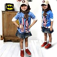 เสื้อยืดเด็กแขนสั้น-ลายรองเท้าอเมริกัน-สีฟ้า