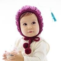 หมวกไหมพรมเชือกผูกตุ้งติ้ง-สีม่วง