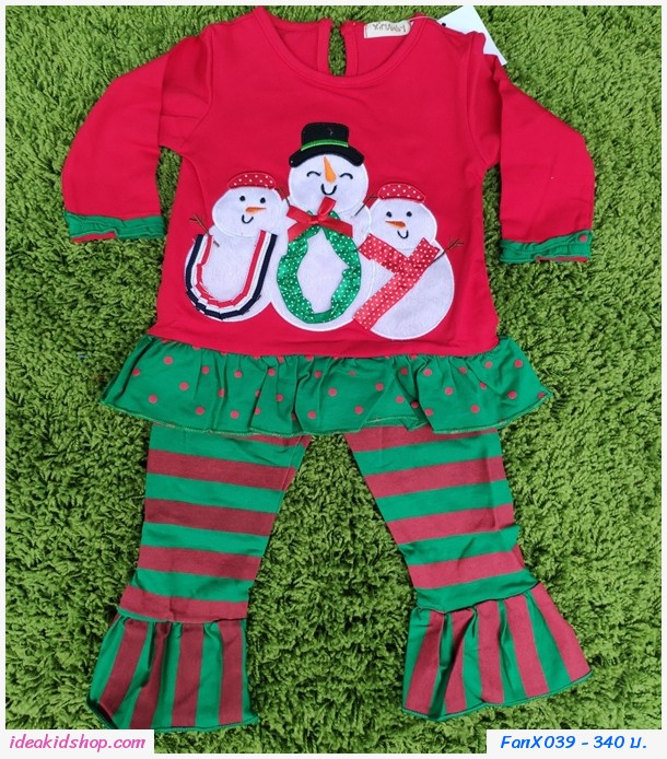 ชุดเสื้อกางเกง Xmas Snow Man n Friends สีแดงเขียว