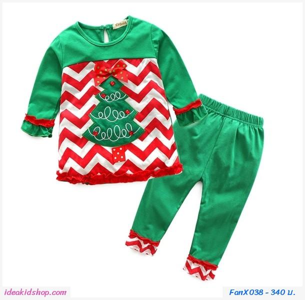 ชุดเสื้อกางเกง Xmas Poinsettia สีเขียว