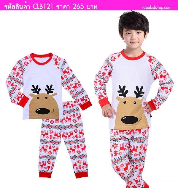 ชุดนอนเด็ก Xmas Reindeer กราฟฟิก สีขาวแดง