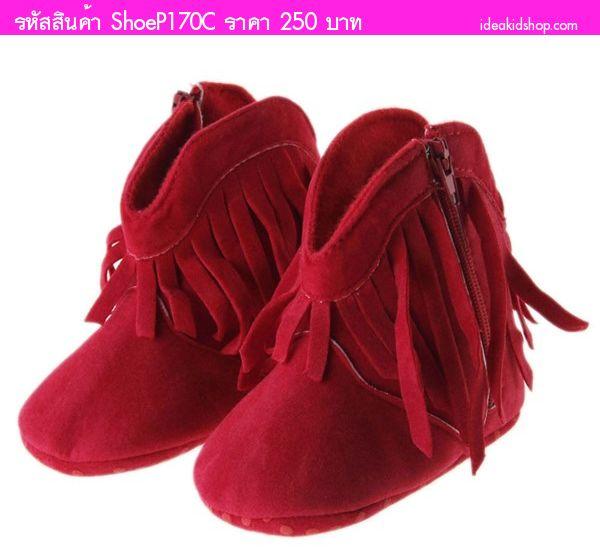 รองเท้าหัดเดิน บูทคาวบอย หนูน้อยแสนซน สีแดง