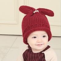 หมวกไหมพรมหูกระต่ายแต่งมุก-สีแดง