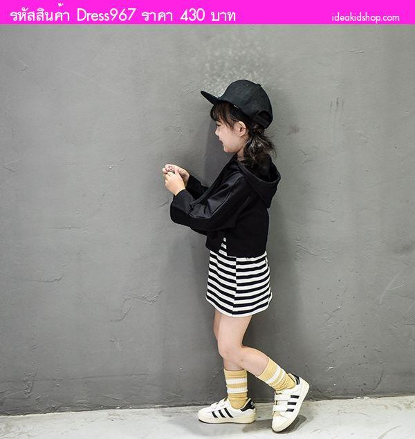 เดรสกับเสื้อคลุมกันหนาว มีฮู้ดน่ารัก สีดำ(2 ชิ้น)