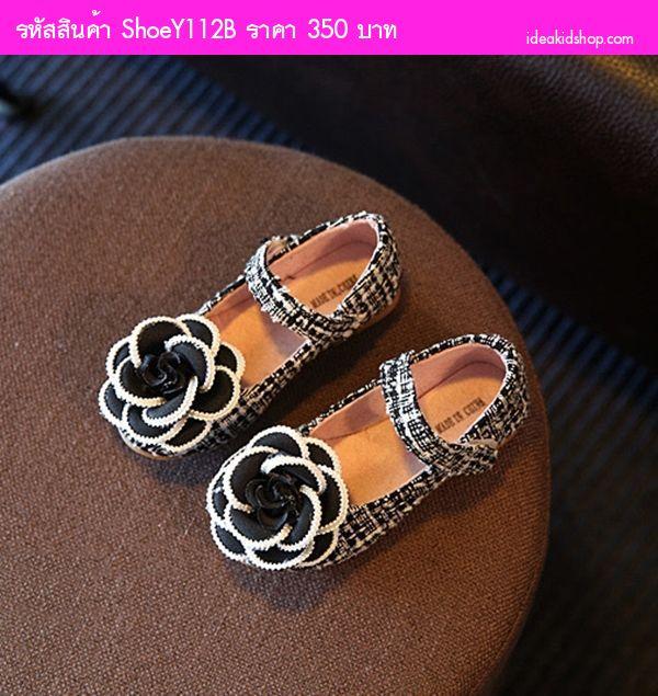 รองเท้าหุ้มส้น Elegant Chanel Flower สีดำ