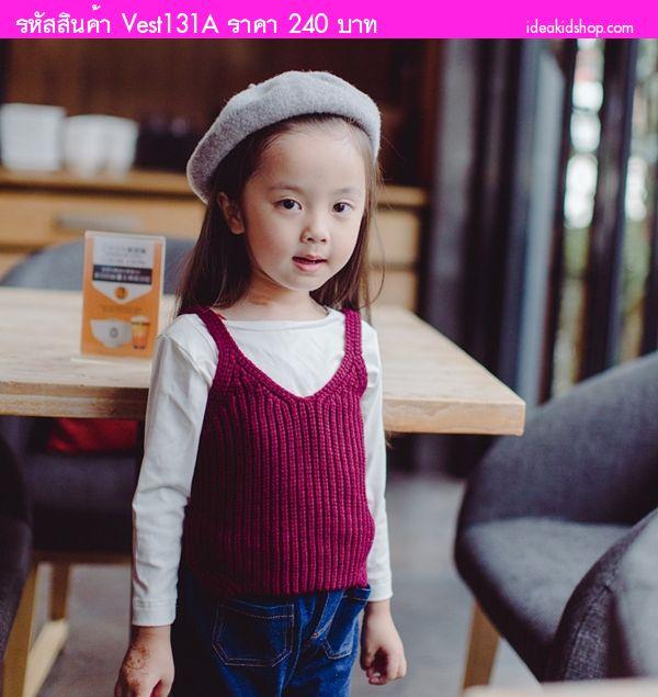 เสื้อครอปไหมพรมน่ารัก สีม่วงมังคุด