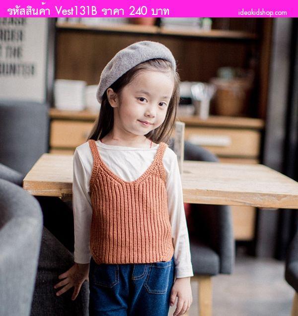เสื้อครอปไหมพรมน่ารัก สีน้ำตาล