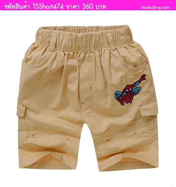 กางเกงขาสามส่วน Spiderman สีกากี(Size 15-23)