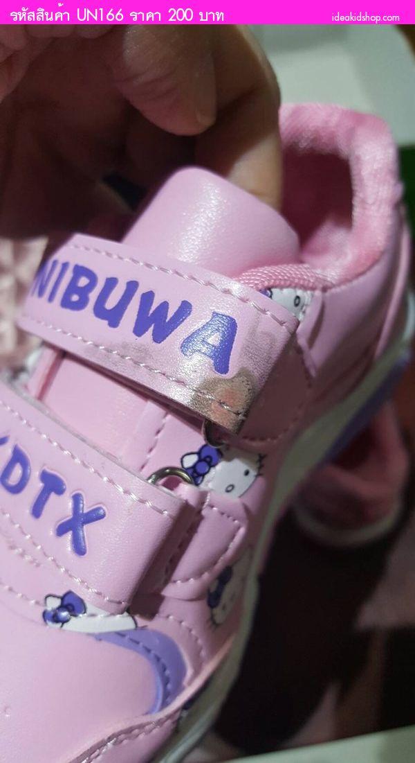 รองเท้าผ้าใบสปอร์ต ลาย Kitty สีชมพูม่วง(ตำหนิ)