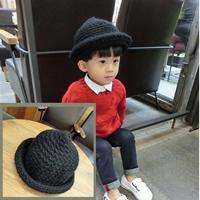 หมวกถักไหมพรมเด็กปีกรอบ-สีดำ