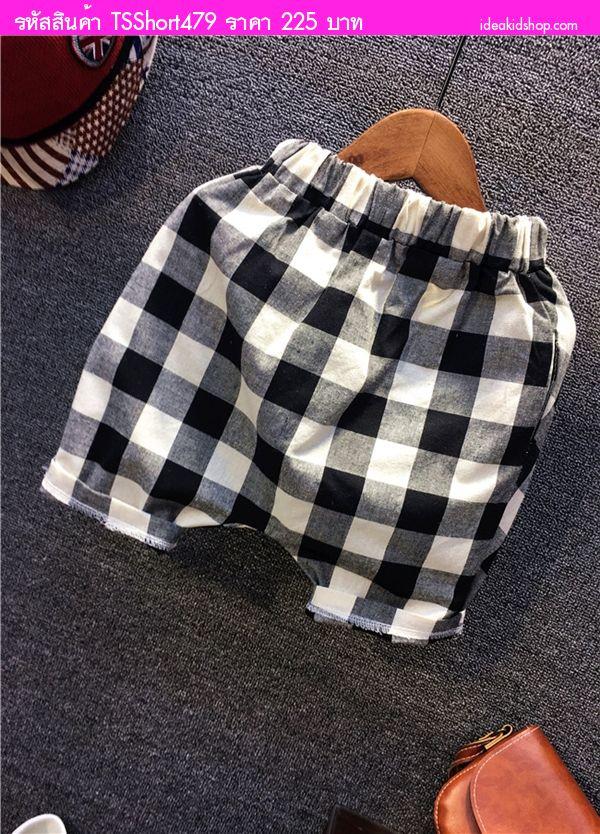 กางเกงขาสั้นเด็ก ลายสก็อต สีดำ