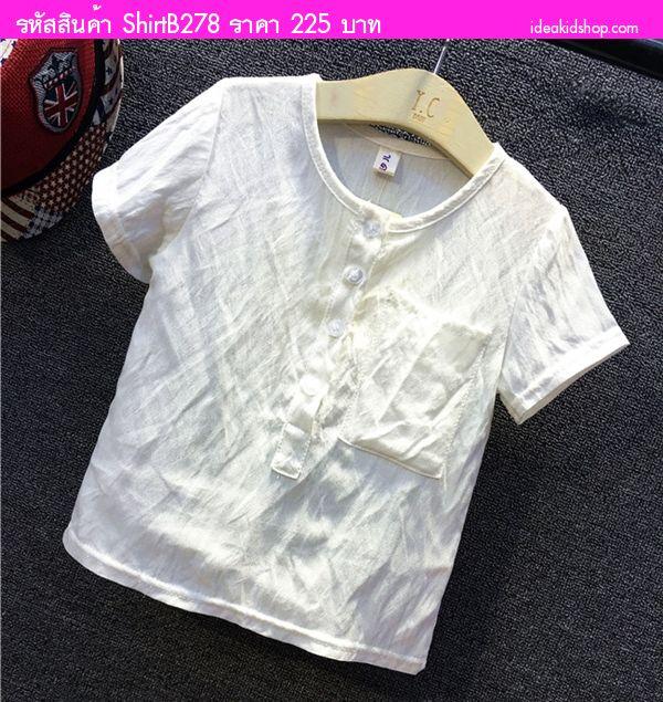 เสื้อเด็กคันทรีแบนด์ แบบสบาย สีขาว