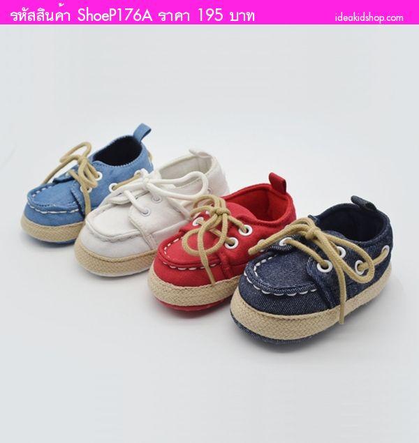 รองเท้าผ้าใบหัดเดินมีเชือกผูกสุดเท่ สีแดง