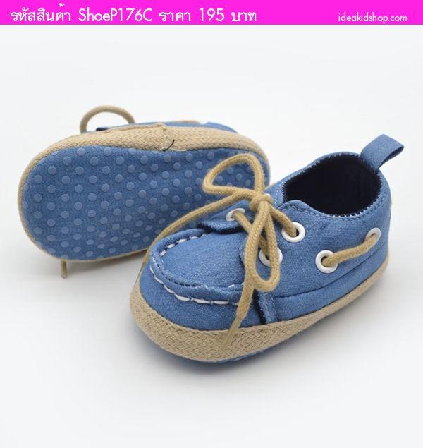 รองเท้าผ้าใบหัดเดินมีเชือกผูกสุดเท่ สียีนส์อ่อน