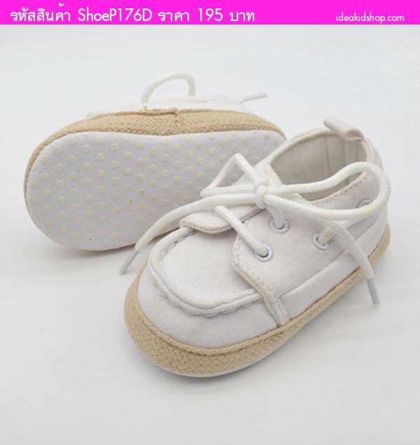 รองเท้าผ้าใบหัดเดินมีเชือกผูกสุดเท่ สีขาว