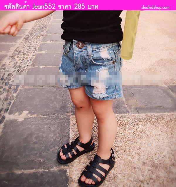 กางเกงยีนส์ขาสั้นสุดเซอร์ สียีนส์ซีด