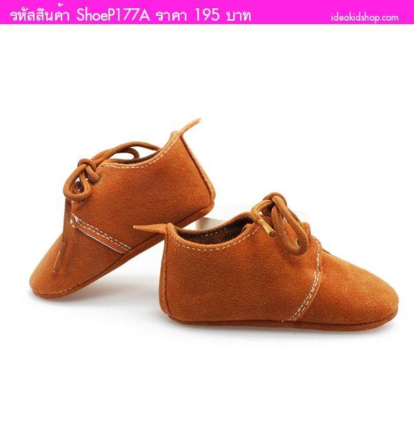 รองเท้าหัดเดินสไตล์คุณหนู มีเชือกผูก สีน้ำตาล