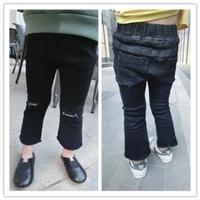 กางเกงยีนส์เด็กแต่งปลายรุ่ย-ปาดเข่า-สีดำ