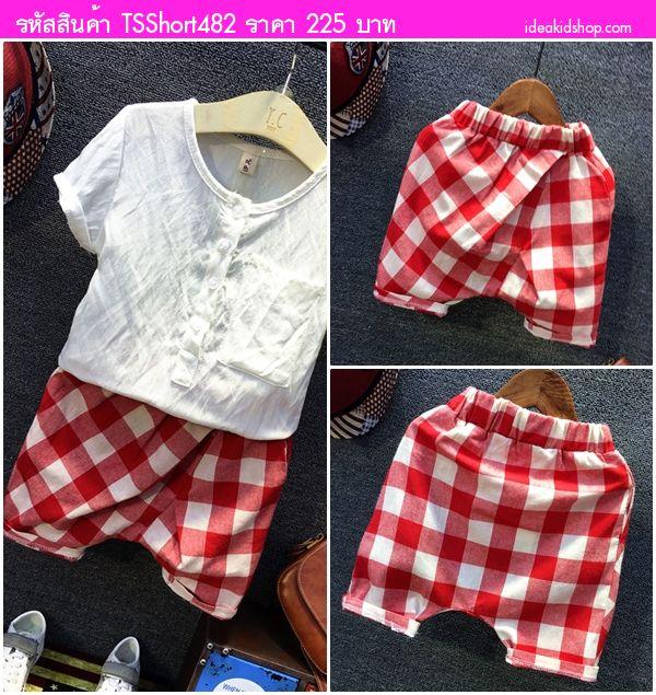 กางเกงเด็กขาสั้นลายตาราง สีแดงขาว