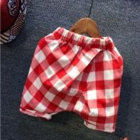 กางเกงเด็กขาสั้นลายตาราง-สีแดงขาว