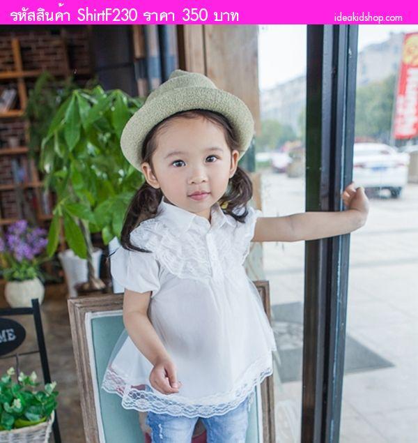เสื้อเด็กปักฉลุลายดอกไม้ สีขาว