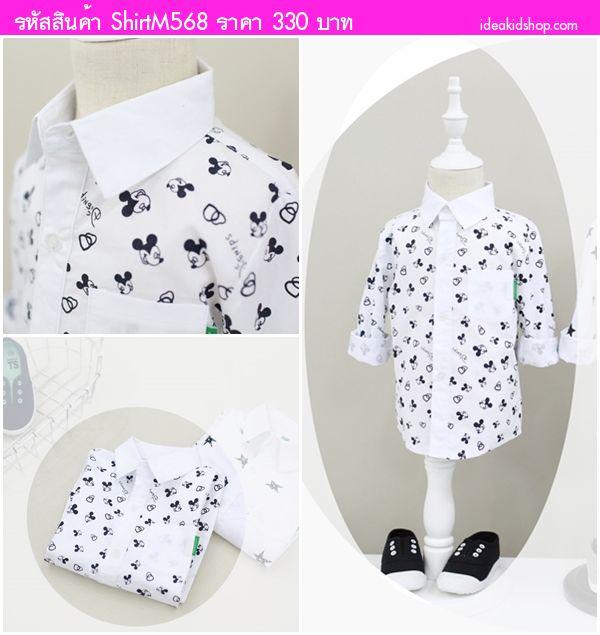 เสื้อเชิ้ตแขนยาวลาย Mickey Mouse สีขาว