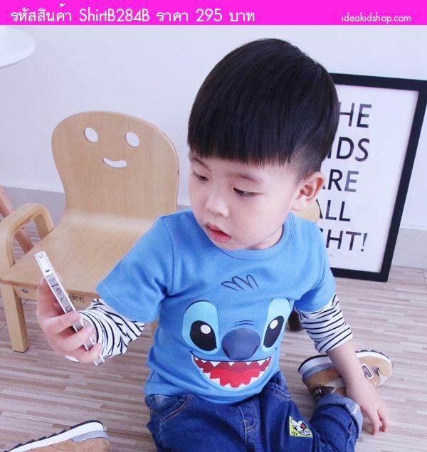 เสื้อแขนยาวเด็ก ลาย Stitch สีน้ำเงิน