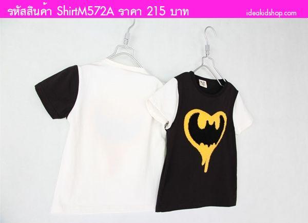เสื้อยืดเด็ก BATMAN หัวใจ สีขาว