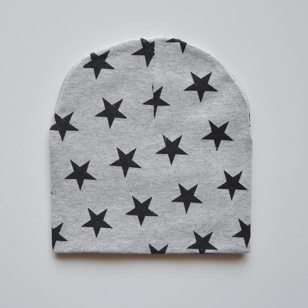 หมวกเด็กลายดาวเท่เท่-สีเทา