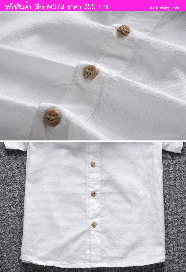 เสื้อเชิ้ตแขนสั้นสุดเท่ สีขาว