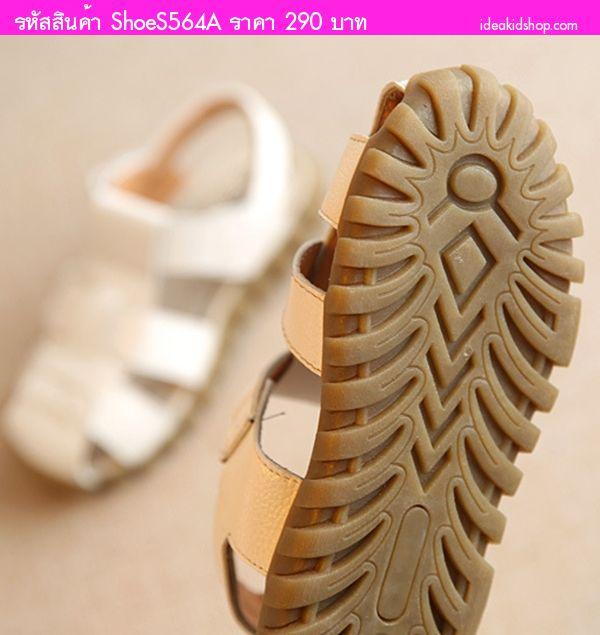 รองเท้าเด็กรัดส้นสไตล์เกาหลีตัว X สีขาว