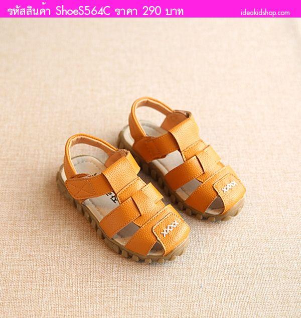 รองเท้าเด็กรัดส้นสไตล์เกาหลีตัว X สีเหลือง