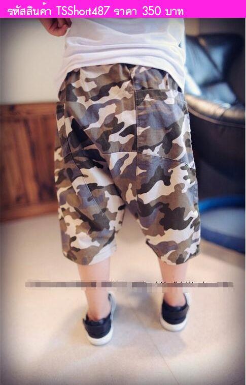 กางเกงขาสั้นเด็กลายทหารสุดเท่ สีเขียว