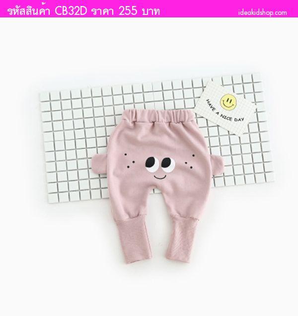 กางเกงก้นบานขายาว ลายหน้าการ์ตูน สีม่วงอ่อน